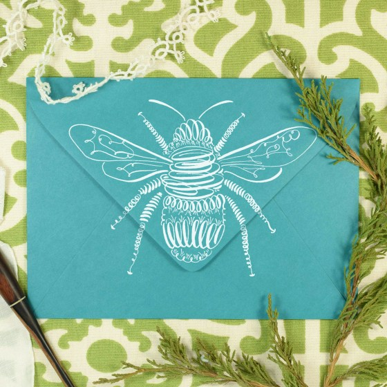 This little bee looks wonderful on mail art!
