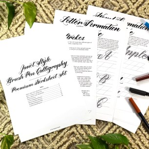 This worksheet includes everything you need to know to learn brush pen calligraphy, including tutorial videos!