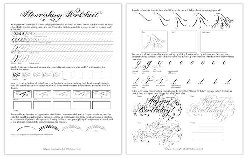 Free Calligraphy Flourishing Worksheet | The Postman's Knock