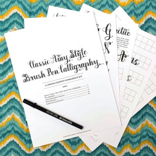 This 22-page worksheet set will teach you how to write CLASSIC Amy Style calligraphy with a brush pen!