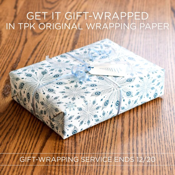 Now through December 20th, we are offering an optional gift-wrapping service! The service includes wrapping, ribbon, and a hand-drawn + calligraphed gift tag with to/from information.