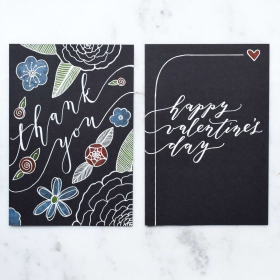 These are two of the four greeting cards that I'm offering. All of them were created using a Sakura Gelly Roll white pen, colored pencils, and black card stock.