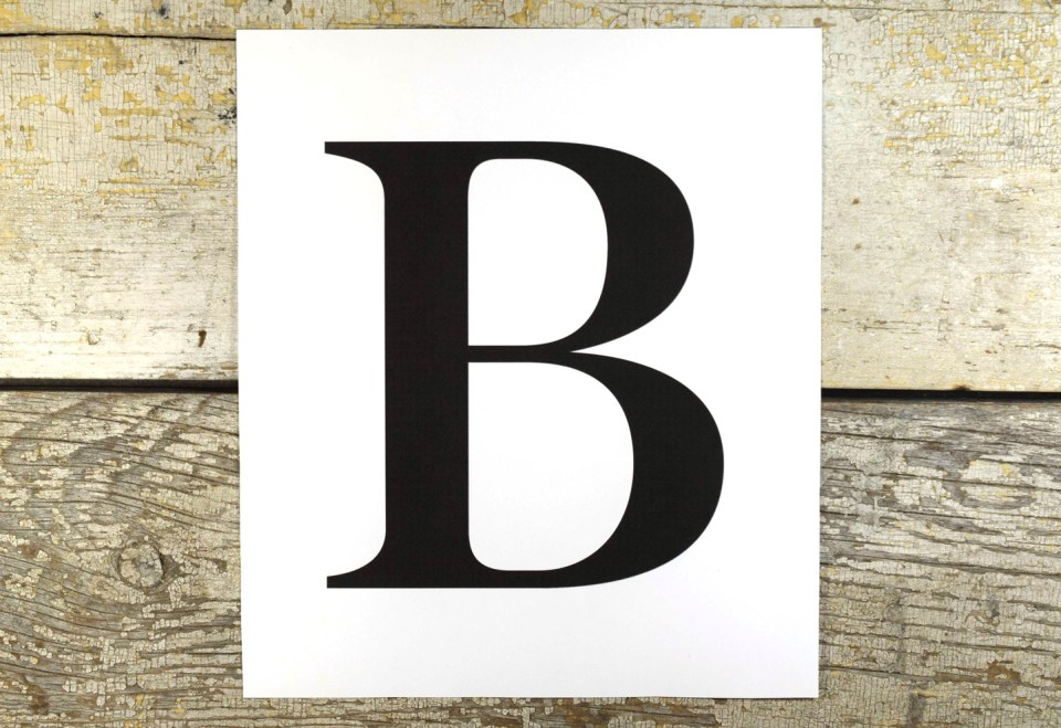 "Printout of Letter ""B"""