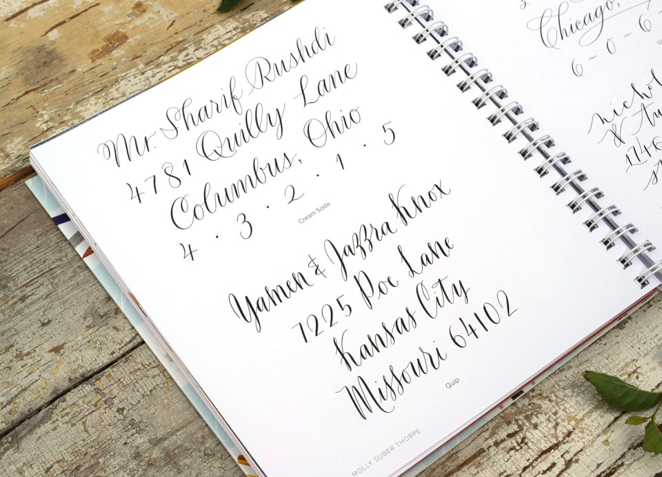 """Address Examples from """"Mastering Modern Calligraphy"""""""