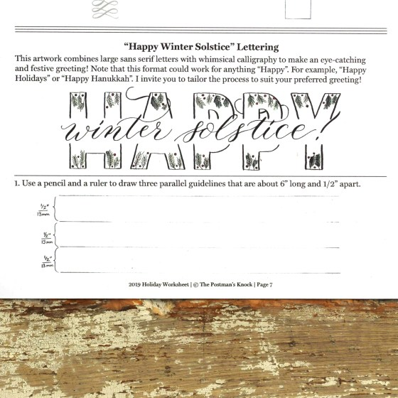 "Per reader requests, this worksheet includes a ""Happy Winter Solstice!"" greeting."