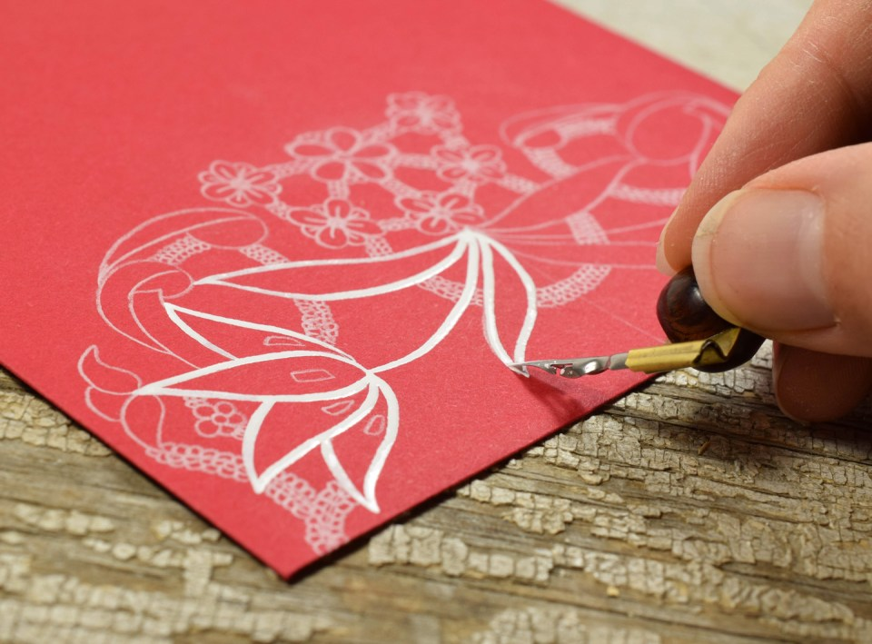 Adding Ink to the floral lace illustration