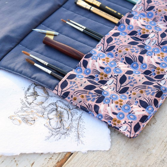"""The """"Twilight Safari"""" pen roll features six reinforced pen/brush pockets that will serve you for years to come!"""