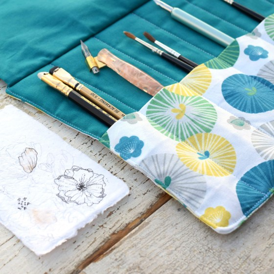 """The """"Boho Beach"""" pen roll features six reinforced pen/brush pockets that will serve you for years to come!"""