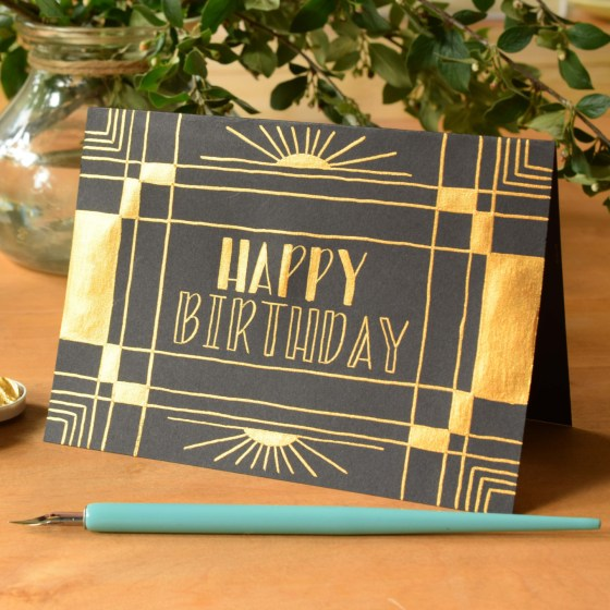 Finetec isn't just for calligraphy! You can use it for a variety of projects, like this art deco birthday card!