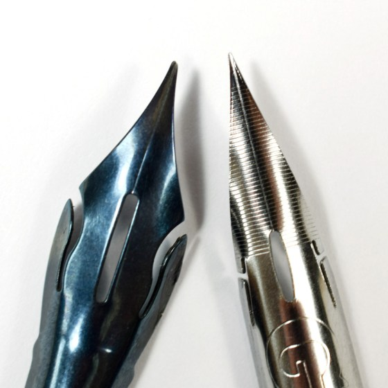 The Blue Pumpkin has a slightly wider tip than the Nikko G, so you can expect comparatively thicker upstrokes.