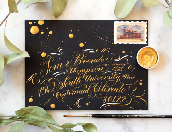 """Black Tie"" White and Gold Envelope Calligraphy"
