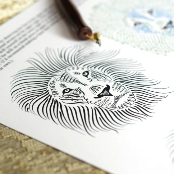 This flourished lion is one of the projects toward the end of the calligraphy drills worksheet.
