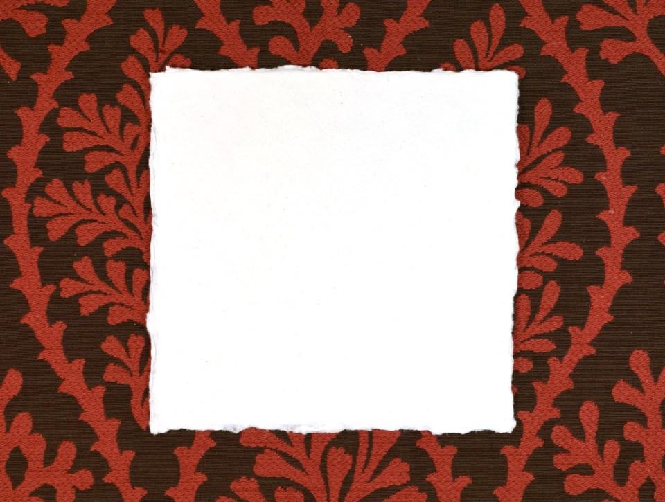 "5.25"" square piece of handmade paper"