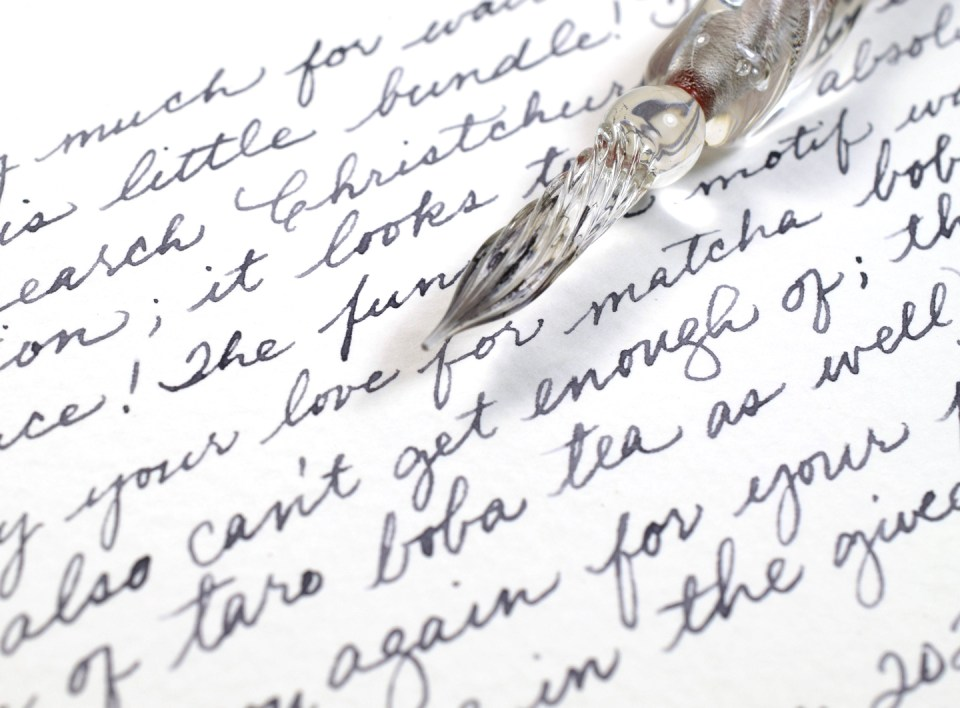 Glass pen handwriting