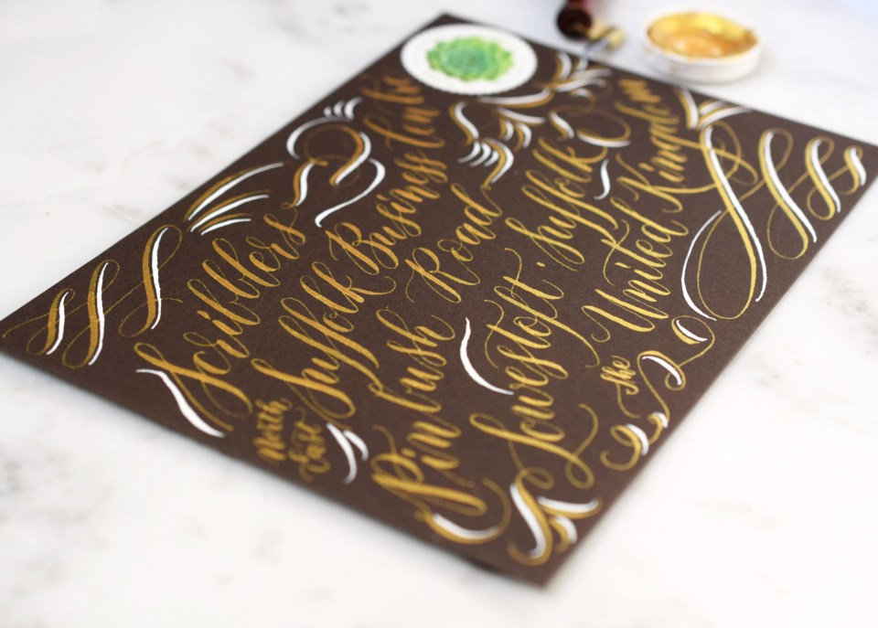 White and Gold Envelope Calligraphy Tutorial