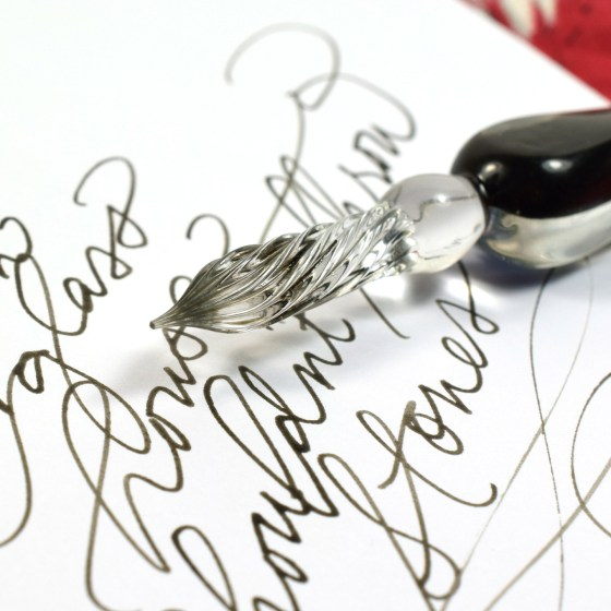 This ink works beautifully with both calligraphy pens and glass dip pens.