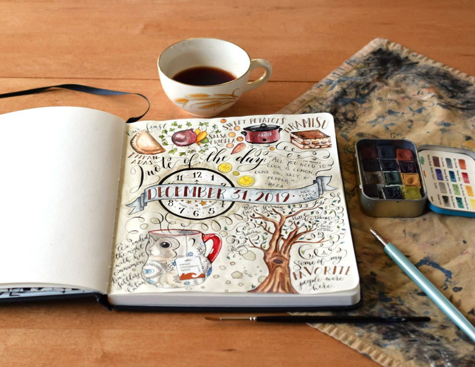 "How to Add Color to Your ""Day in the Life"" Sketchbook Layout 