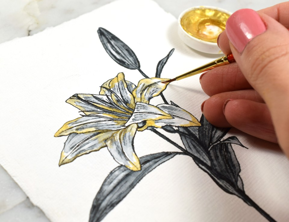 Adding Gold to the Lily Drawing