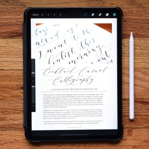 If you prefer to practice writing calligraphy on your iPad, this Procreate-friendly version of the worksheet will make for convenient practice!
