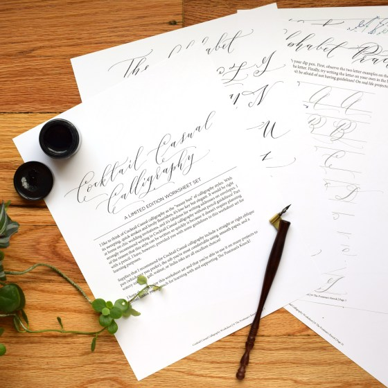 """This 24 page exemplar provides plenty of practice so you can learn how to make """"Cocktail Casual"""" calligraphy!"""