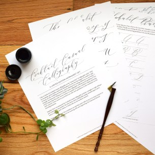 "This 24 page exemplar provides plenty of practice so you can learn how to make ""Cocktail Casual"" calligraphy!"