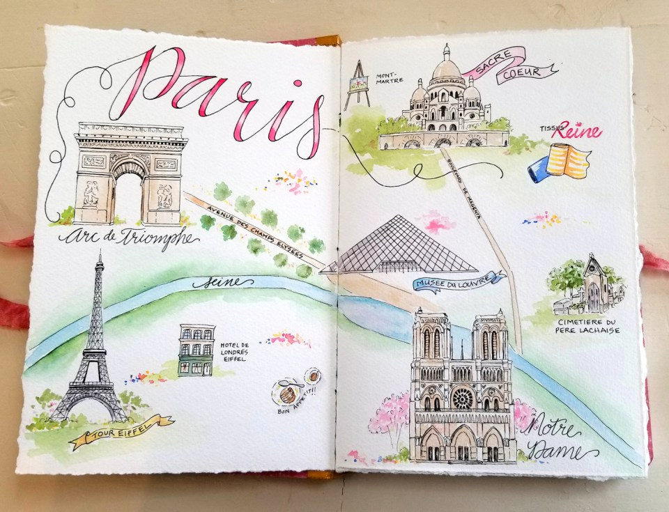 Paris Sketchbook Spread by Cathy Michels