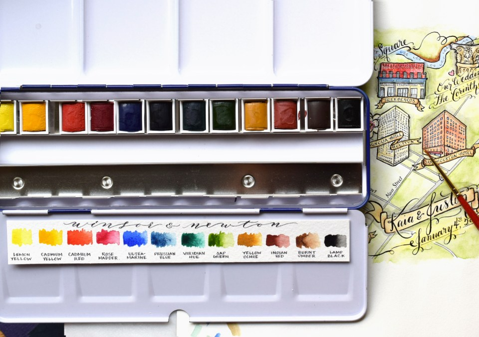 Set of 12 Watercolors Color Chart