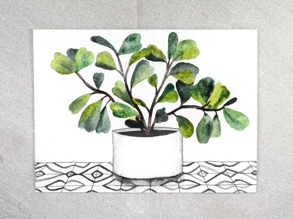 Painting the Fiddle Leaf Fig Illustration Pot