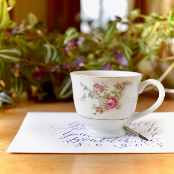 This pretty little cup is the perfect size for a small- to medium-sized workspace.