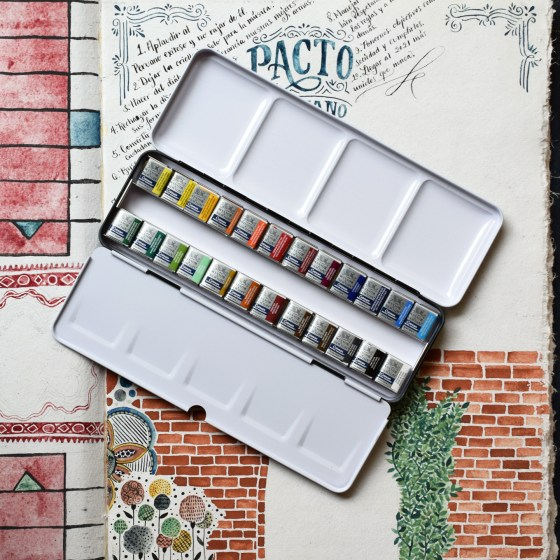 This set of 24 watercolors has a fabulous range of different colors. More colors means less time spent mixing, which saves time.