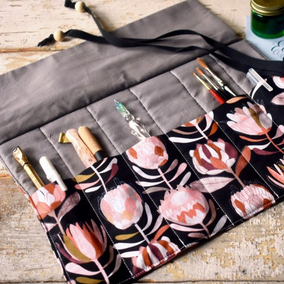 This pen roll features six reinforced pen/brush pockets that will serve you for years to come!