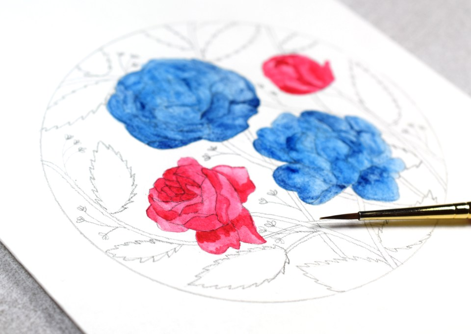 Adding Watercolor to the Flowers Illustration