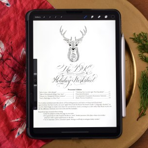 TPK's 2020 holiday Procreate worksheet provides festive calligraphy practice for your digital enjoyment!