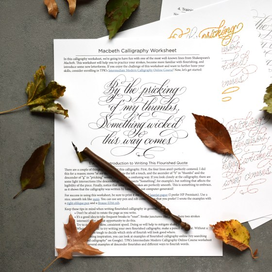 This worksheet provides a fabulous way to practice writing flourished calligraphy.