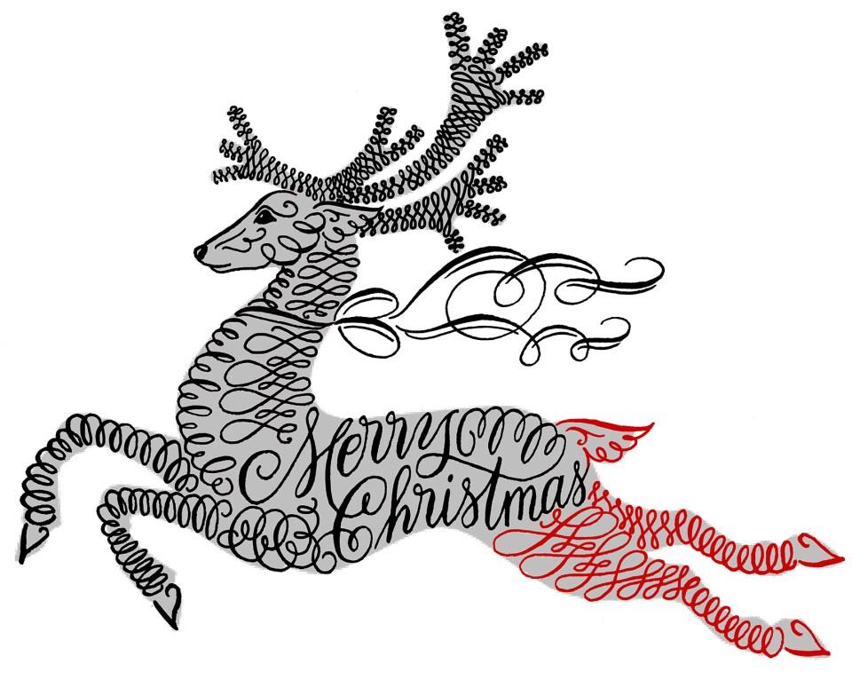 Flourished Calligraphy Reindeer Hind Legs