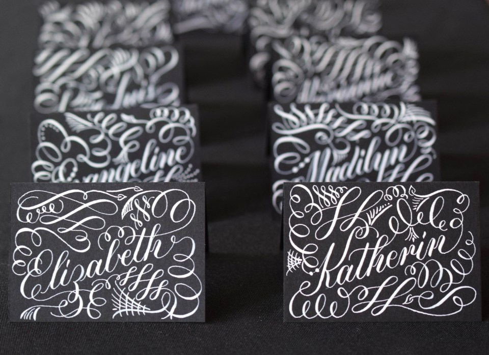 White Calligraphy Ink Place Cards