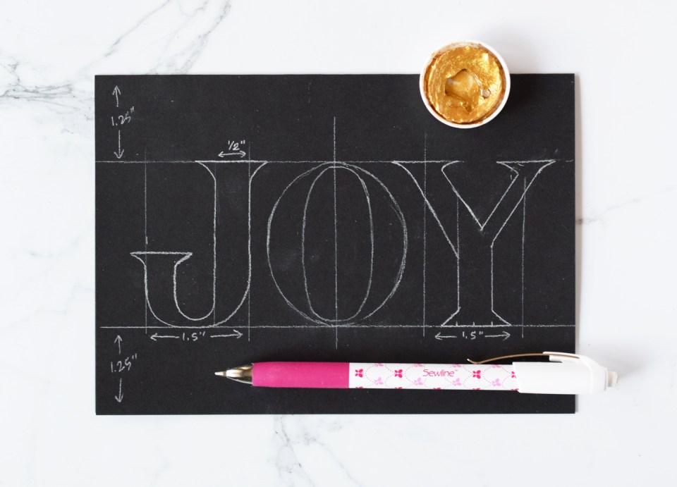 """Joy"" Elegant Gold Christmas Card Tutorial Draft"