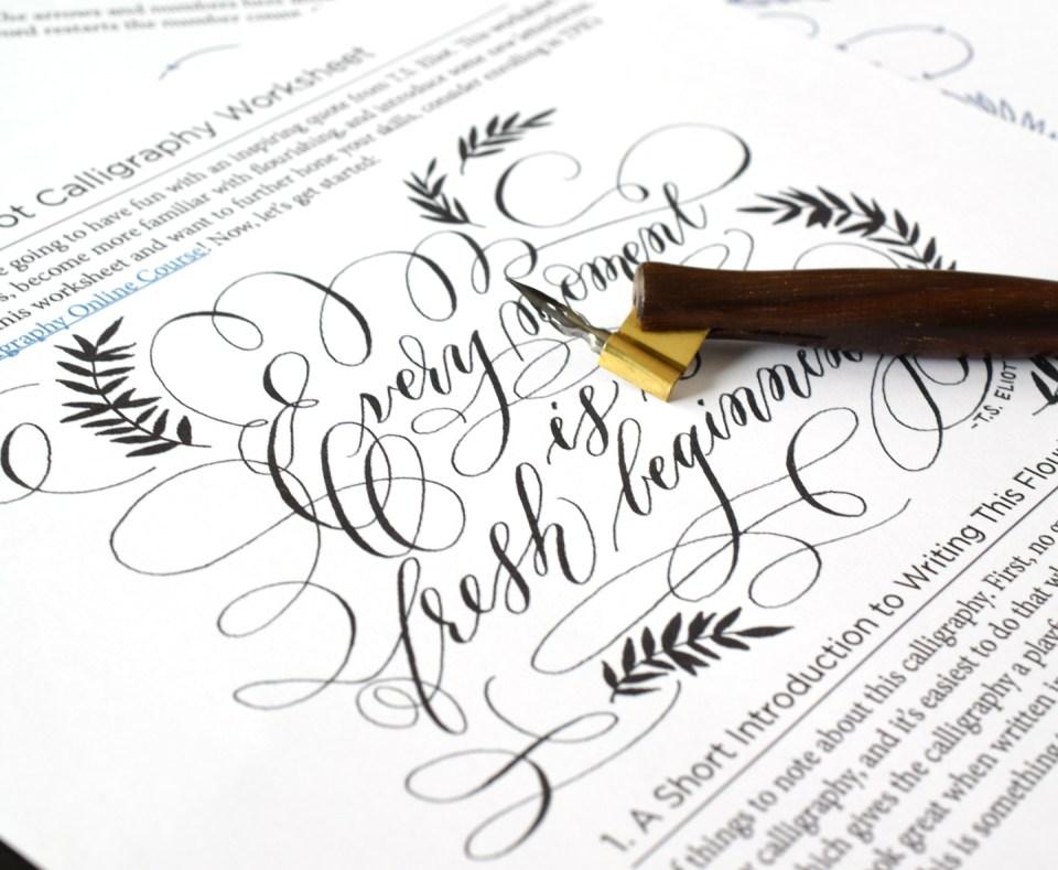 Free Quote Calligraphy Flourishing Worksheet