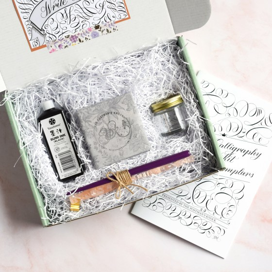 """This pink and purple edition of TPK calligraphy kits includes a pink straight pen and a purple """"Pretty in Pink"""" oblique pen."""