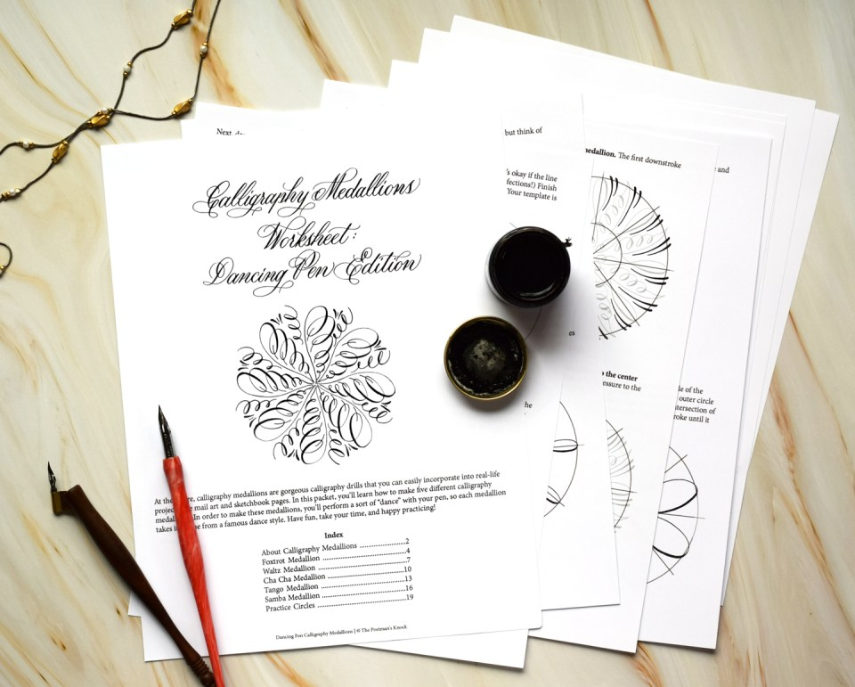 💃 The Dancing Pen Calligraphy Medallion Worksheet Has Arrived!