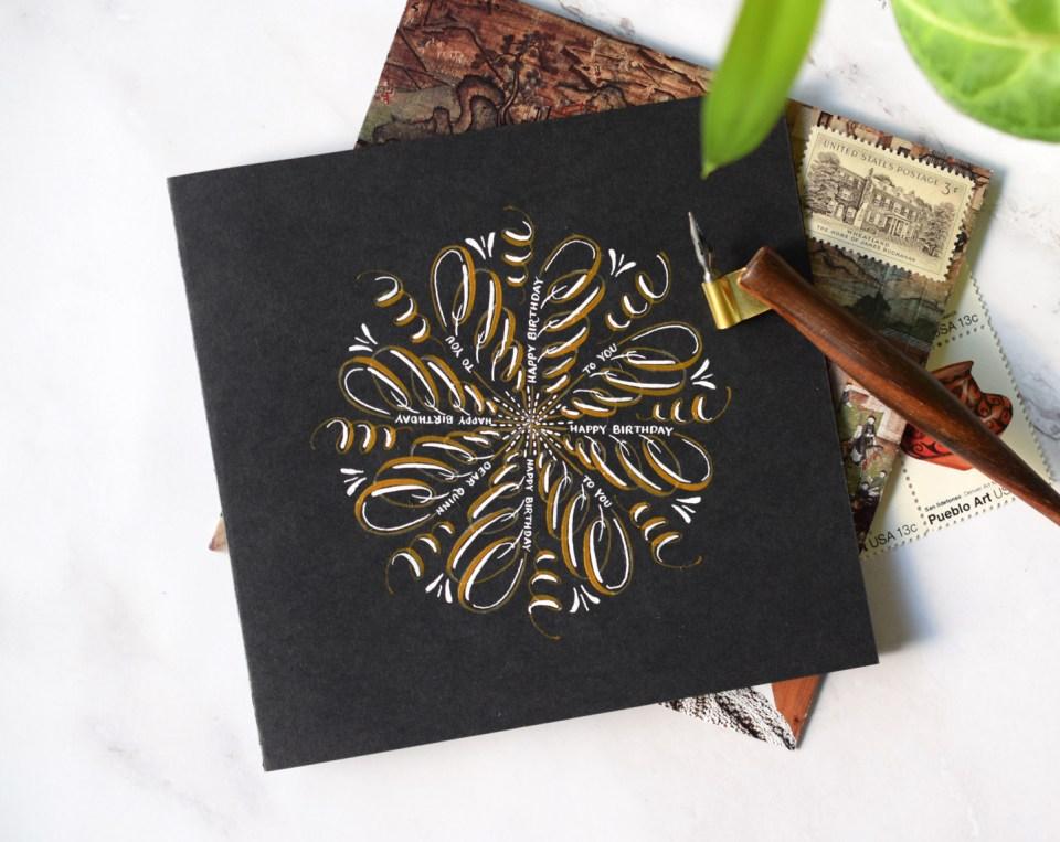 Marvelous Medallion Calligraphy Birthday Card Tutorial