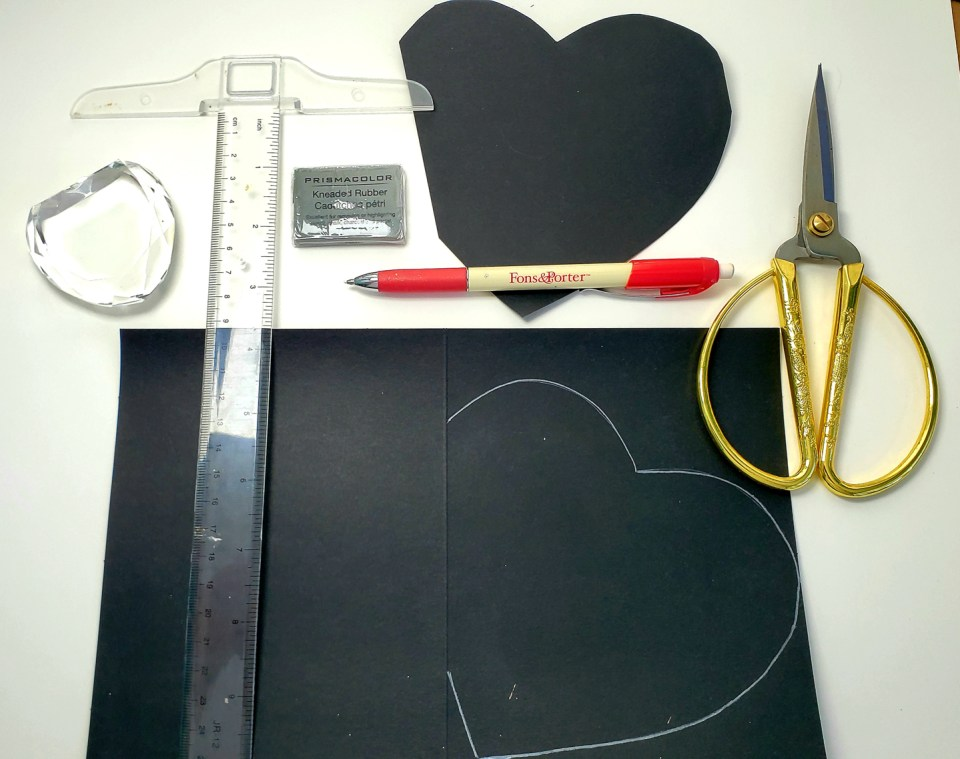 Supplies for Calligraphy Valentine Card
