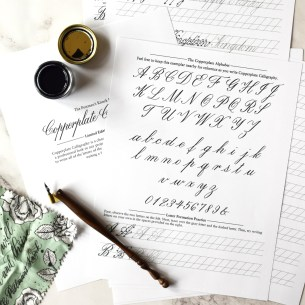 TPK's Copperplate Worksheet set is 10 pages long with letter practice A-Z and a-z, number practice, and word exercises.