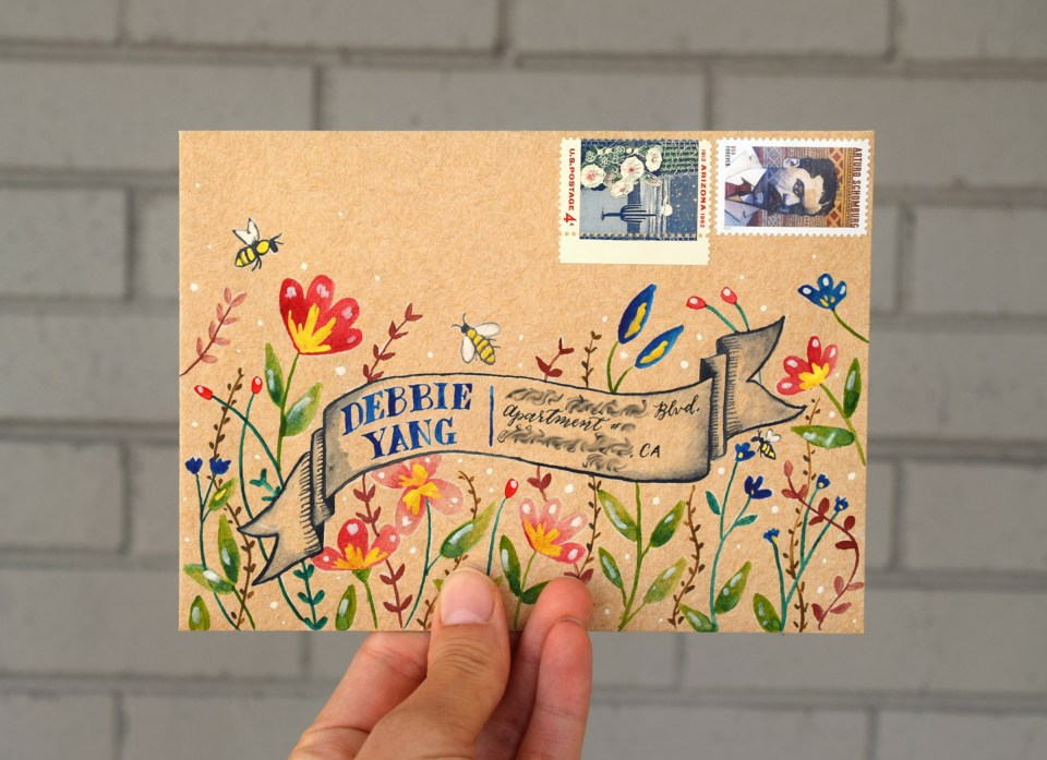 Watercolor Flowers Mail Art Tutorial