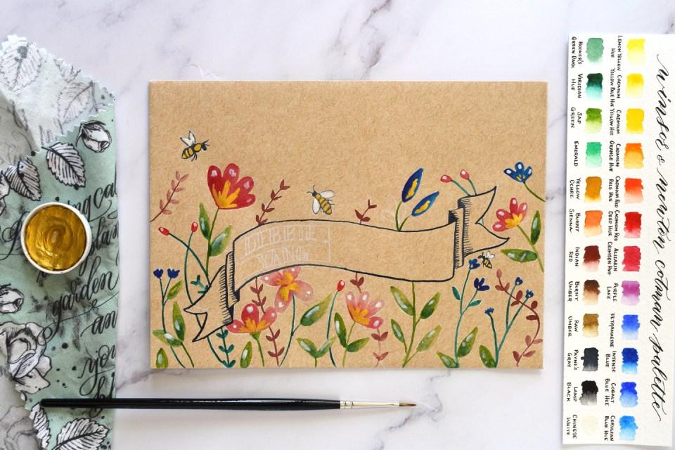 Watercolor Garden Mail Art Tutorial