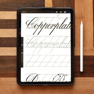 Use this Procreate worksheet to practice Copperplate calligraphy in a convenient, can-do-it-anywhere way!