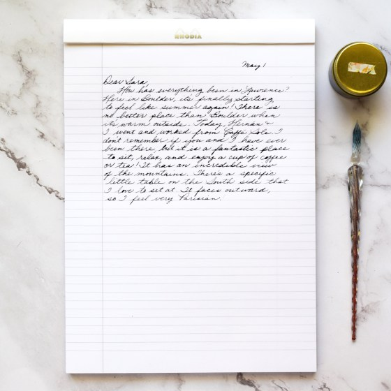 I love using the lined Rhodia pads to write letters with a glass dip pen or a fountain pen.