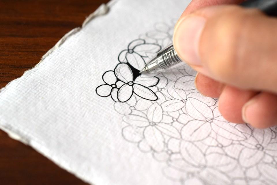 Adding Ink to the Hydrangea Illustration Tutorial