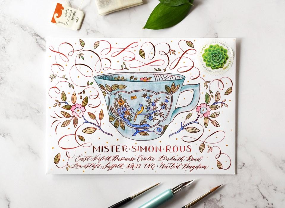 "Intricate Teacup Envelope Art for ""No More Boring Envelopes"""
