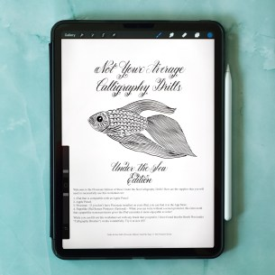 These calligraphy drills will help you to practice pen movements with a fun marine theme.